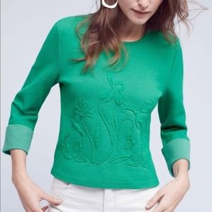 Anthropologie Moth Green Cropped Cuff Sleeve Top M